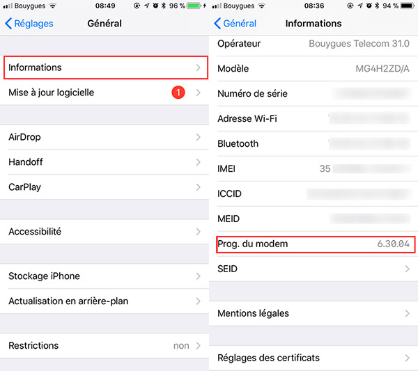 baseband iphone : voir si son modem iPhone fonctionne